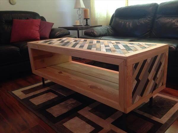 handmad wooden pallet coffee table with storage and metal hairpin leg