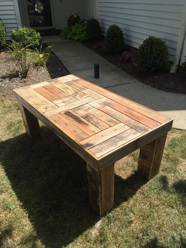 recyclecd pallet coffee table with patterned top