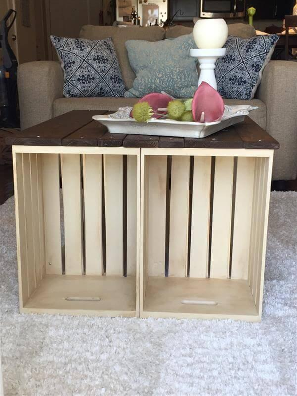 handmade wooden pallet and crate coffee table