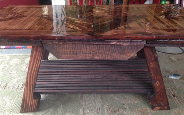 upcycled wooden pallet coffee table with diamond patterned top and a drawer