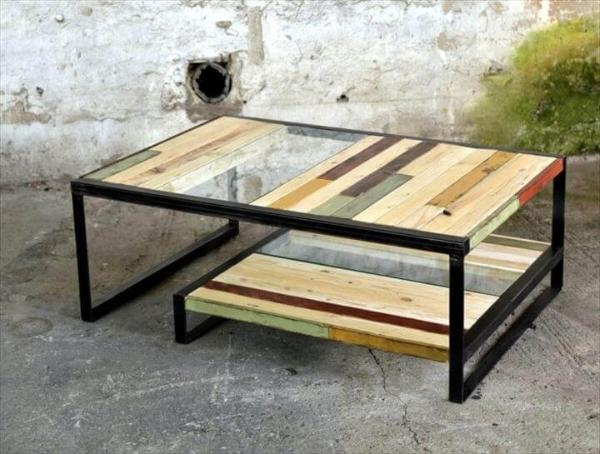 Pallet Metal And Glass Coffee Table 101 Pallets