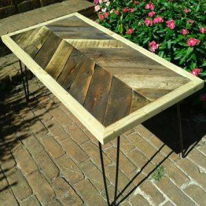 handmade wooden pallet chevron coffee table