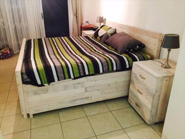 repurposed pallet bed with nightstands