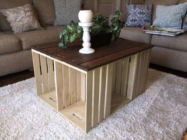 Charmant Pallet And Crate Coffee Table