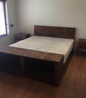 recycled pallet bed with shoes rack