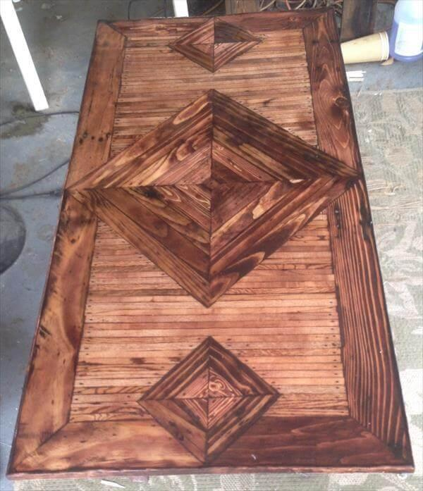 diy pallet coffee table with diamond pattern top