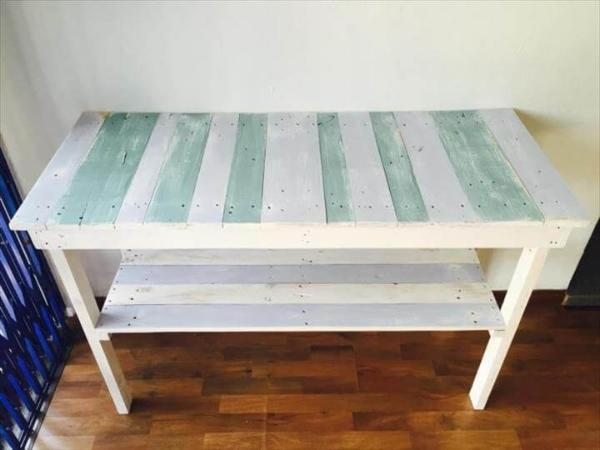 diy pallet white and gray painted couch table
