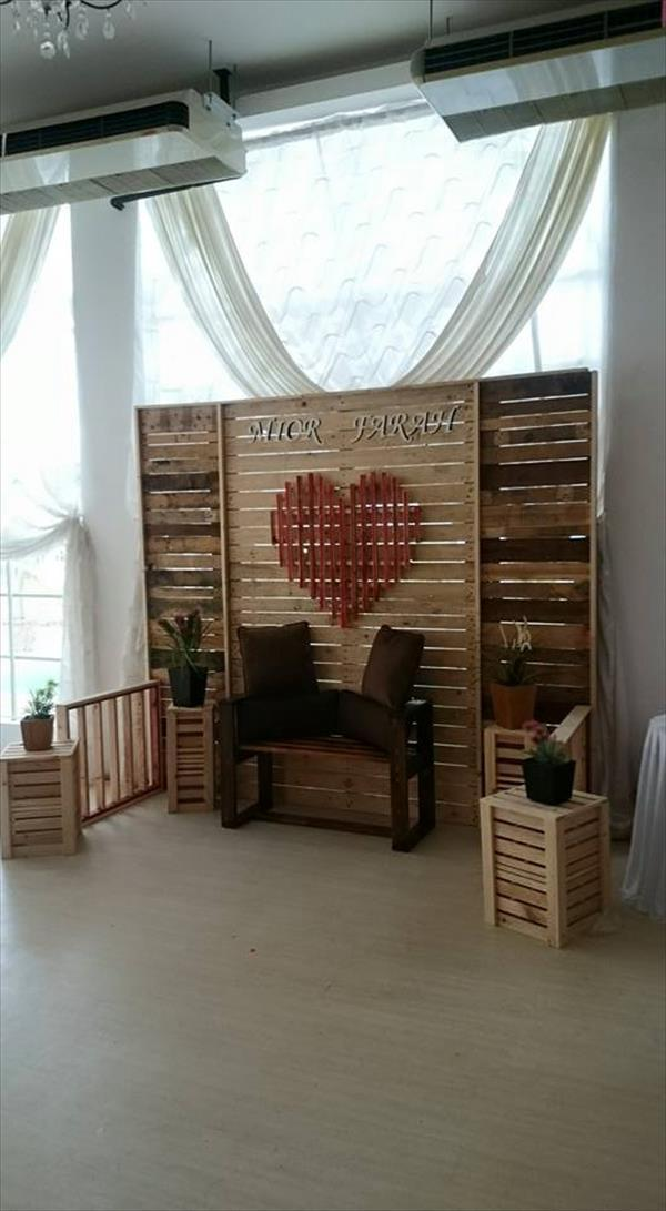 wedding ideas using pallets diy pallet wedding stage wall room divider 101 pallets 28338