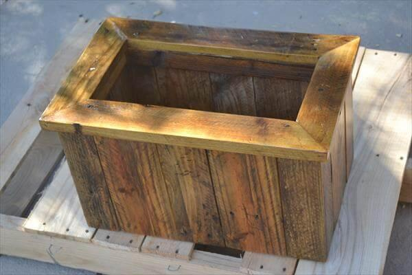 handcrafted pallet planter box