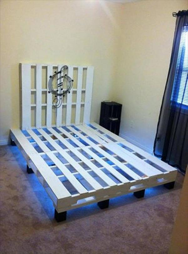 Pallet Bed With Under Lights – 101 Pallets