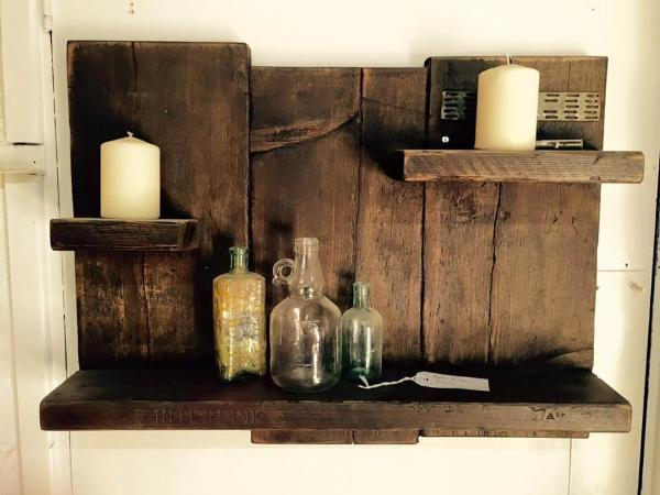 antique wooden pallet shelf