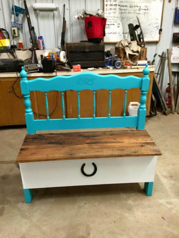 recycled pallet and old headboard bench