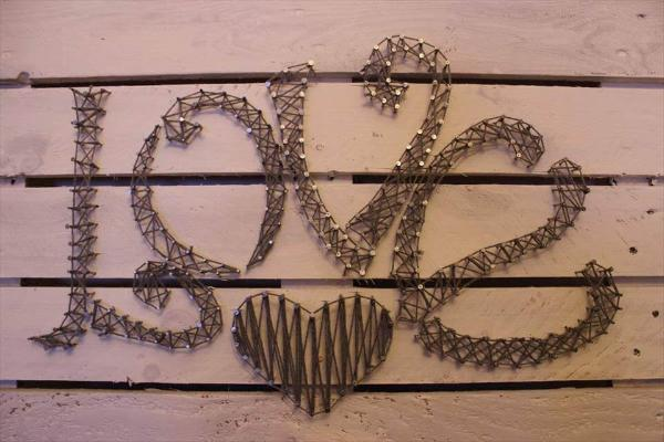 pallet and twine love wall art