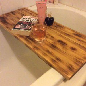 Wooden pallet bath tub tray