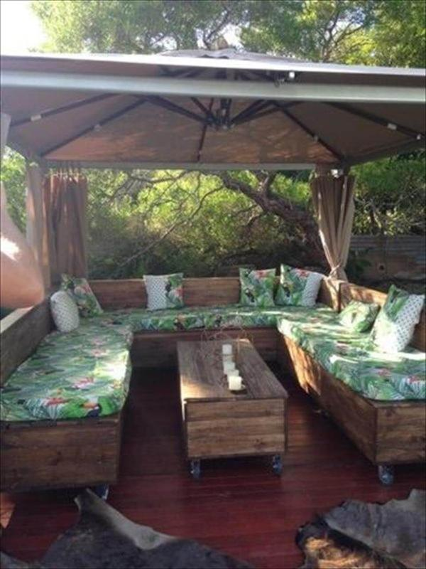 pallet u shape couch under gazebo