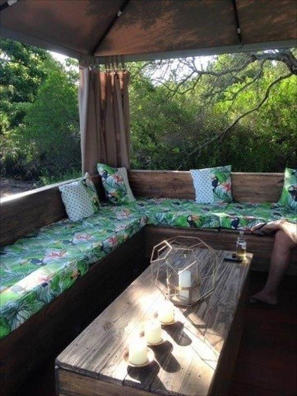 diy pallet u shape couch under gazebo