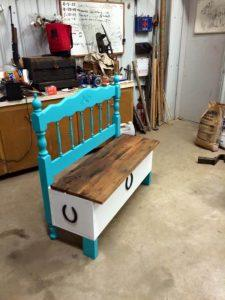 repurposed pallet and old headboard bench