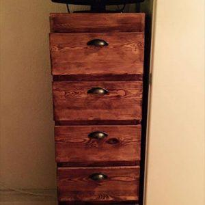 repurposed pallet high top chest of drawers