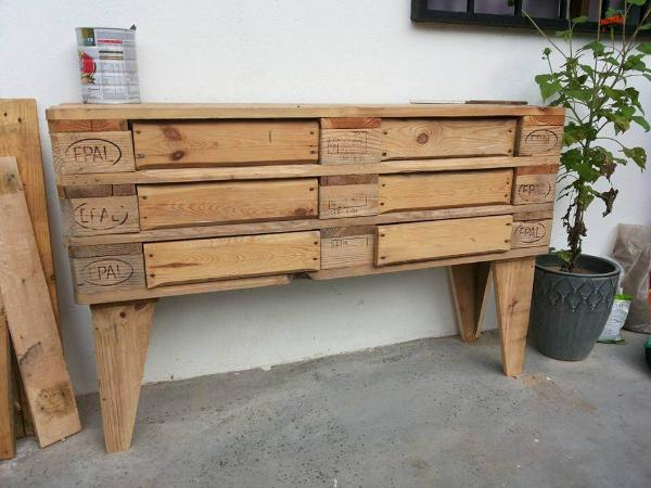 rustic wooden pallet media console or dresser