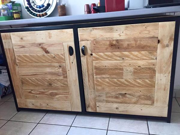 repurposed pallet sideboard and kitchen cabinet