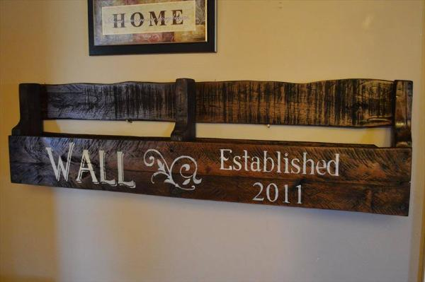 wooden pallet wall shelf