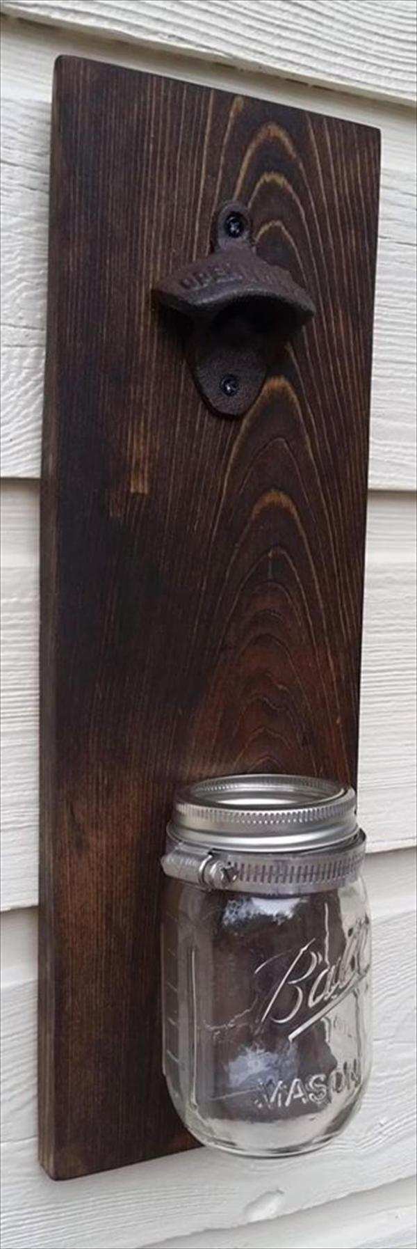 pallet bottle opener with cap catcher