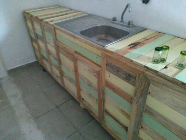 Pallet Wood Kitchen Counter With Sink 101 Pallets