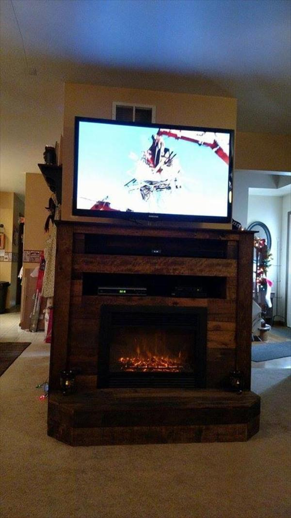 pallet t.v stand with faux fire place