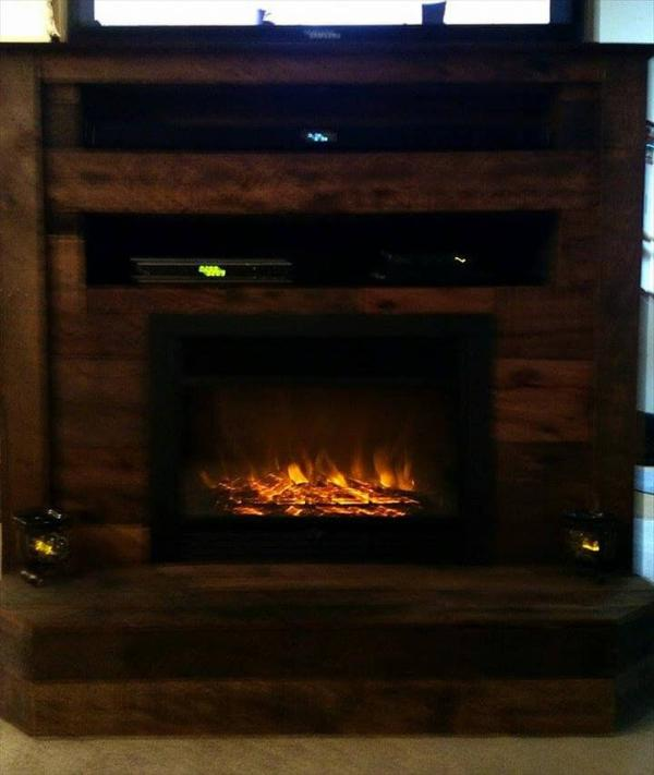diy pallet t.v stand with faux fire place