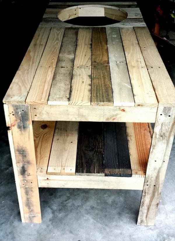 wooden pallet kamado grill table