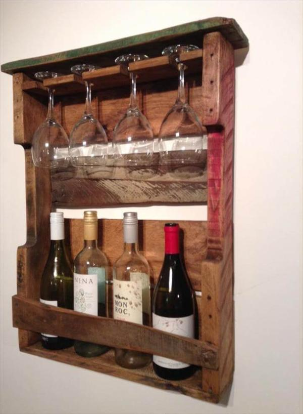 Wooden Pallet beverage and glass rack