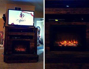 Pallet TV Stand with Faux Fireplace