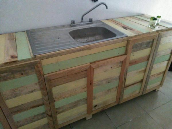 Wooden Pallet Kitchen Counter With Sink