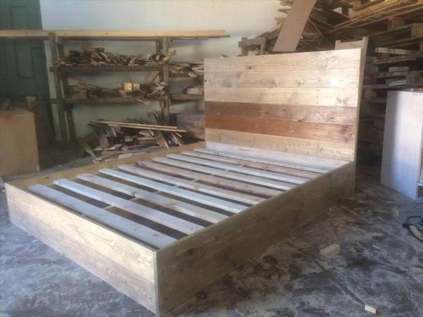 Wooden pallet platform bed frame