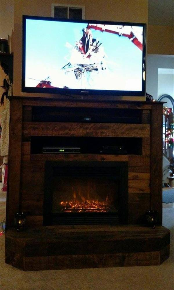 Wooden pallet t.v stand with faux fire place