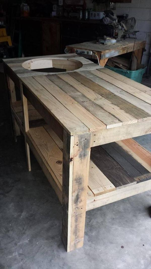 Bbq Side Table With Storage.Pallet Wood Kamado Grill Table 101 Pallets