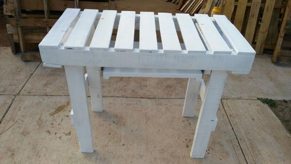 low-cost white painted pallet computer desk