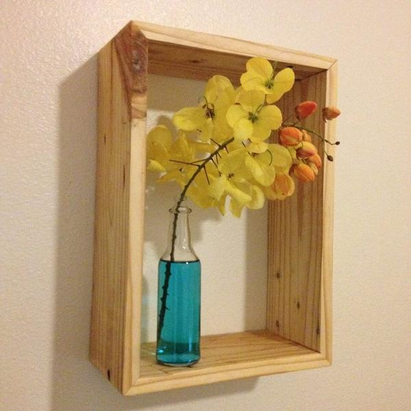 Recycled pallet rectangular decorative shelf