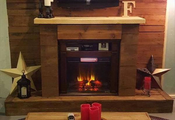 diy pallet wall with faux fire place