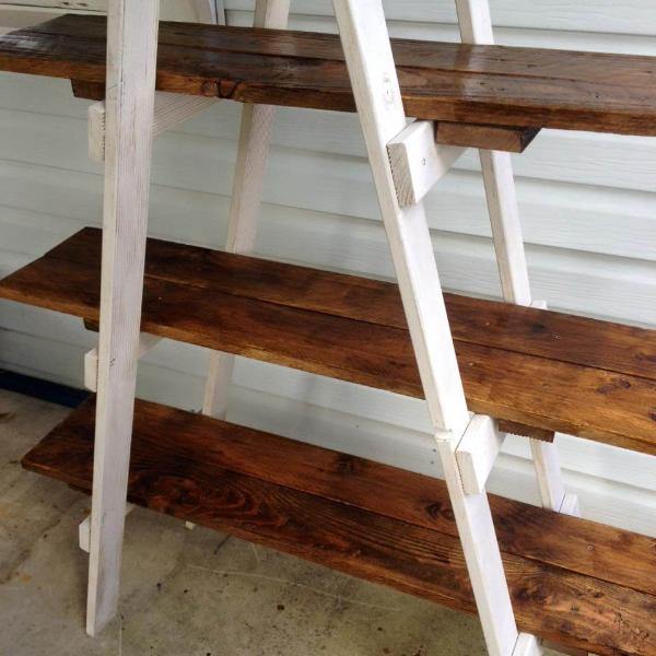 Wooden pallet A frame ladder shelf