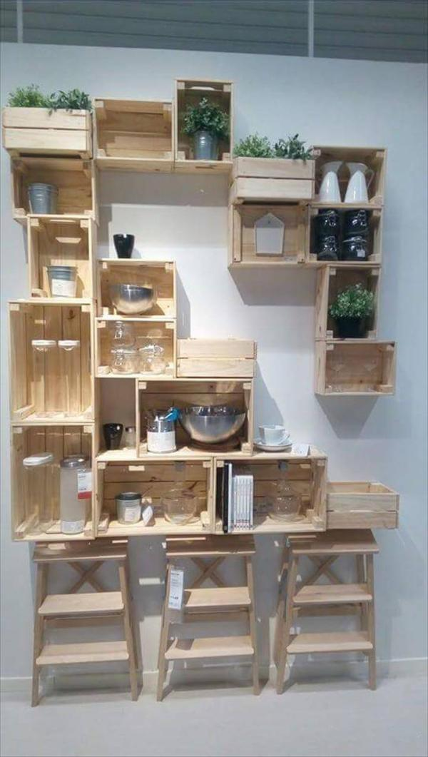 wooden pallet and crate shelving
