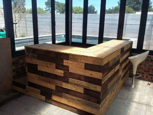 wooden pallet L-shape bar table