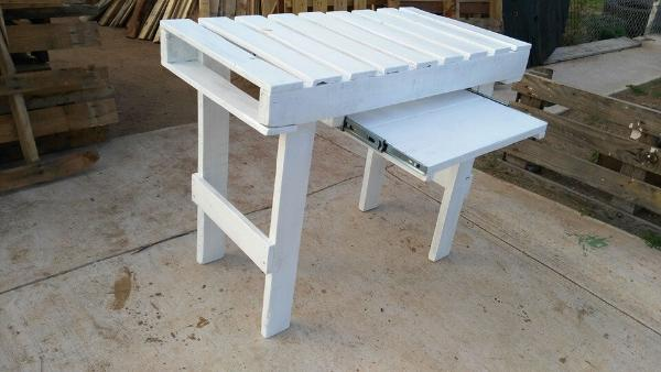 High Quality Wooden Pallet White Painted Desk