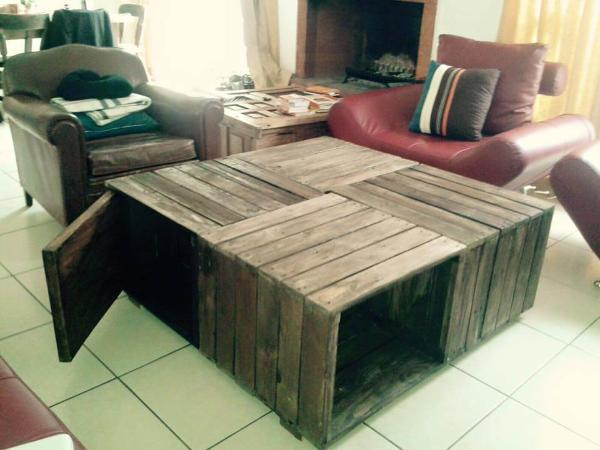 upcycled pallet crate style coffee table