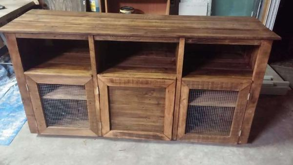 upcycled wooden pallet cabinet