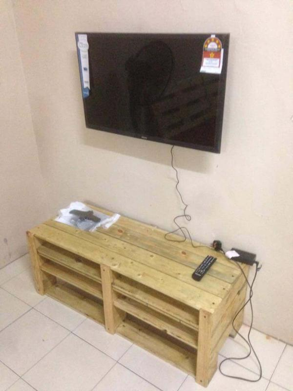 handcrafted wooden pallet media cabinet