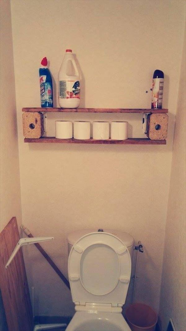 upcycled wooden pallet toilet room shelf