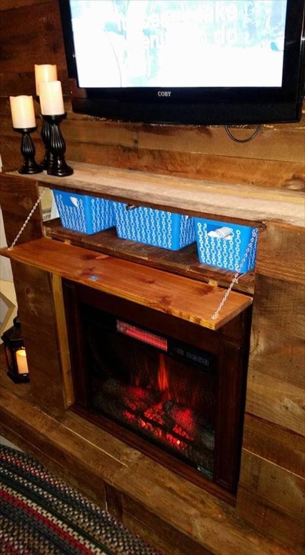 Wooden pallet wall with faux fire place