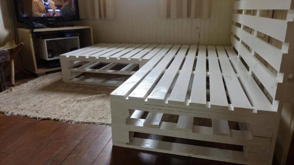 Recycled pallet corner sofa