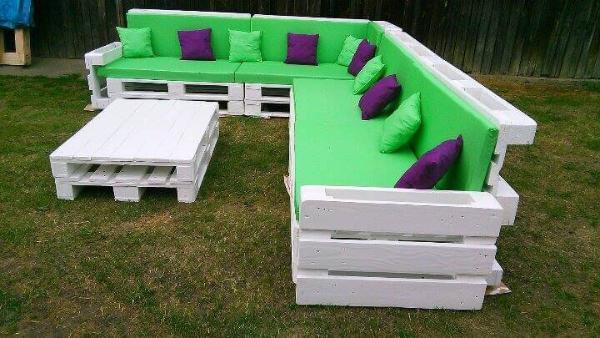 diy pallet giant corner sofa set